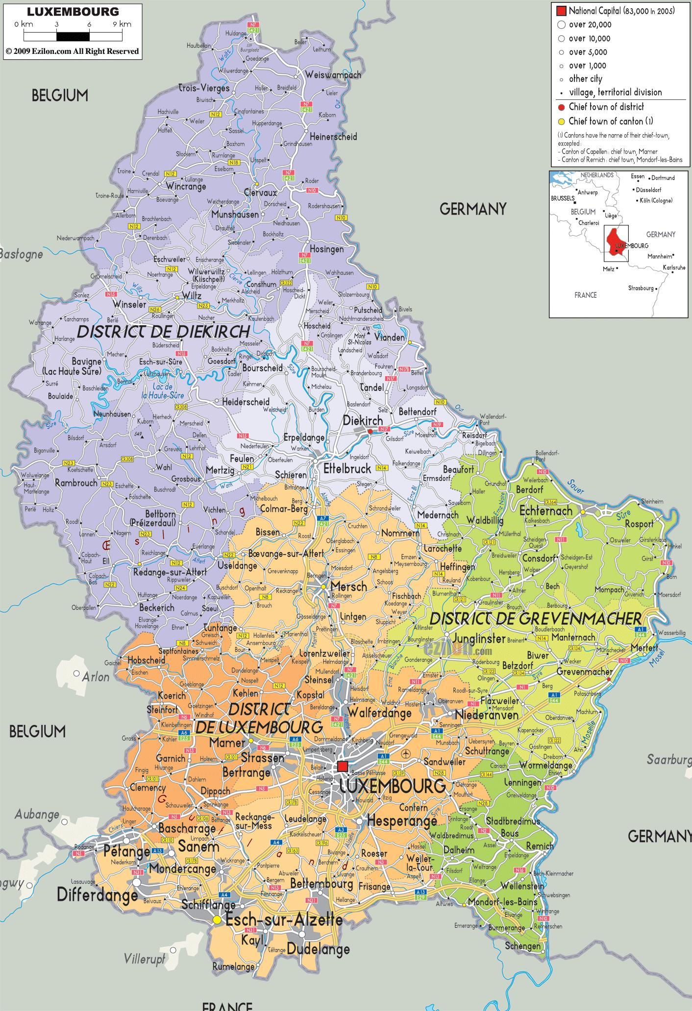 Kort Over Luxembourg Luxembourg Land Kort Det Vestlige Europa