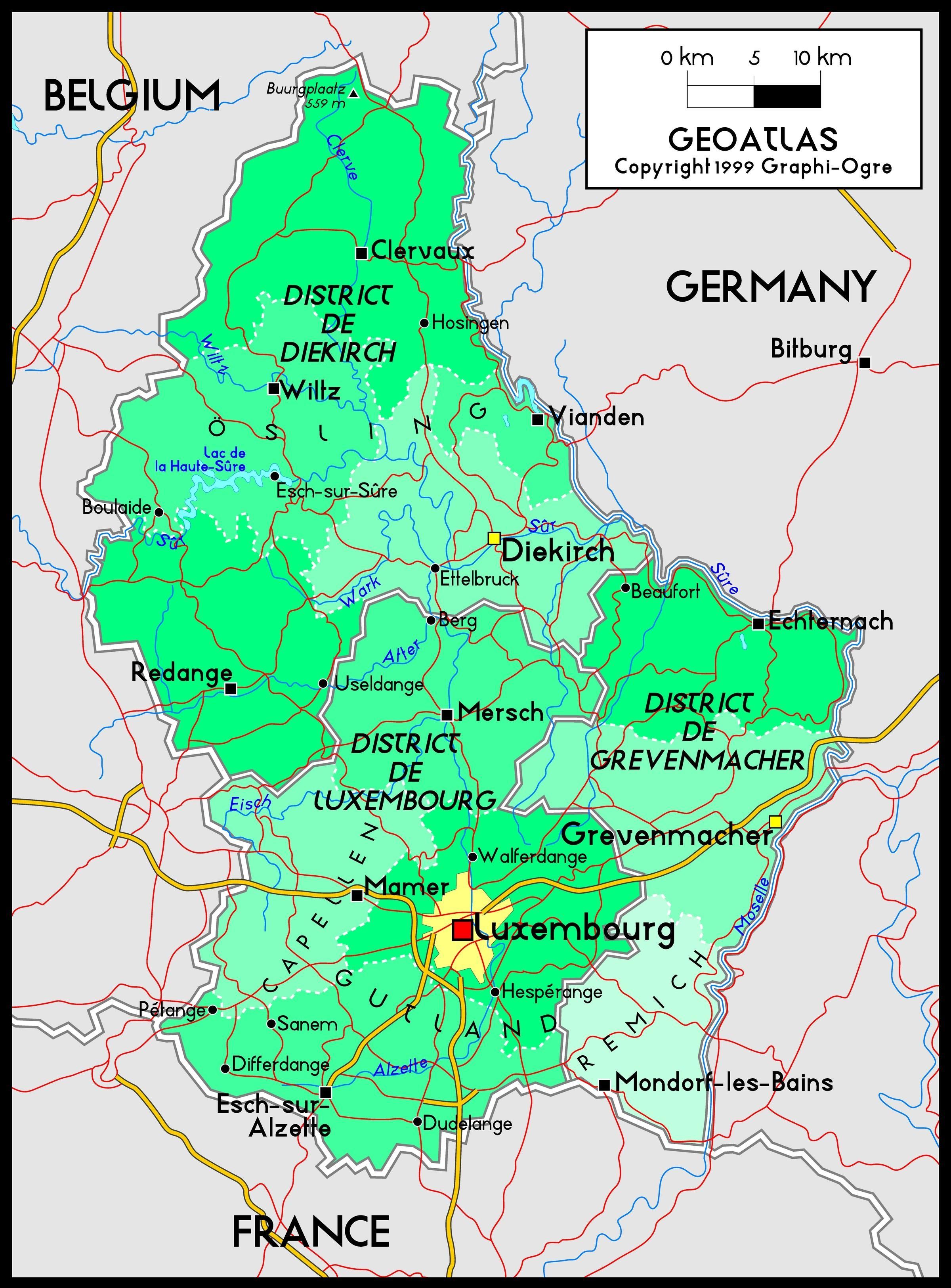 Luxembourg Kort Luxembourg Kort Placering I Den Vestlige Del Af