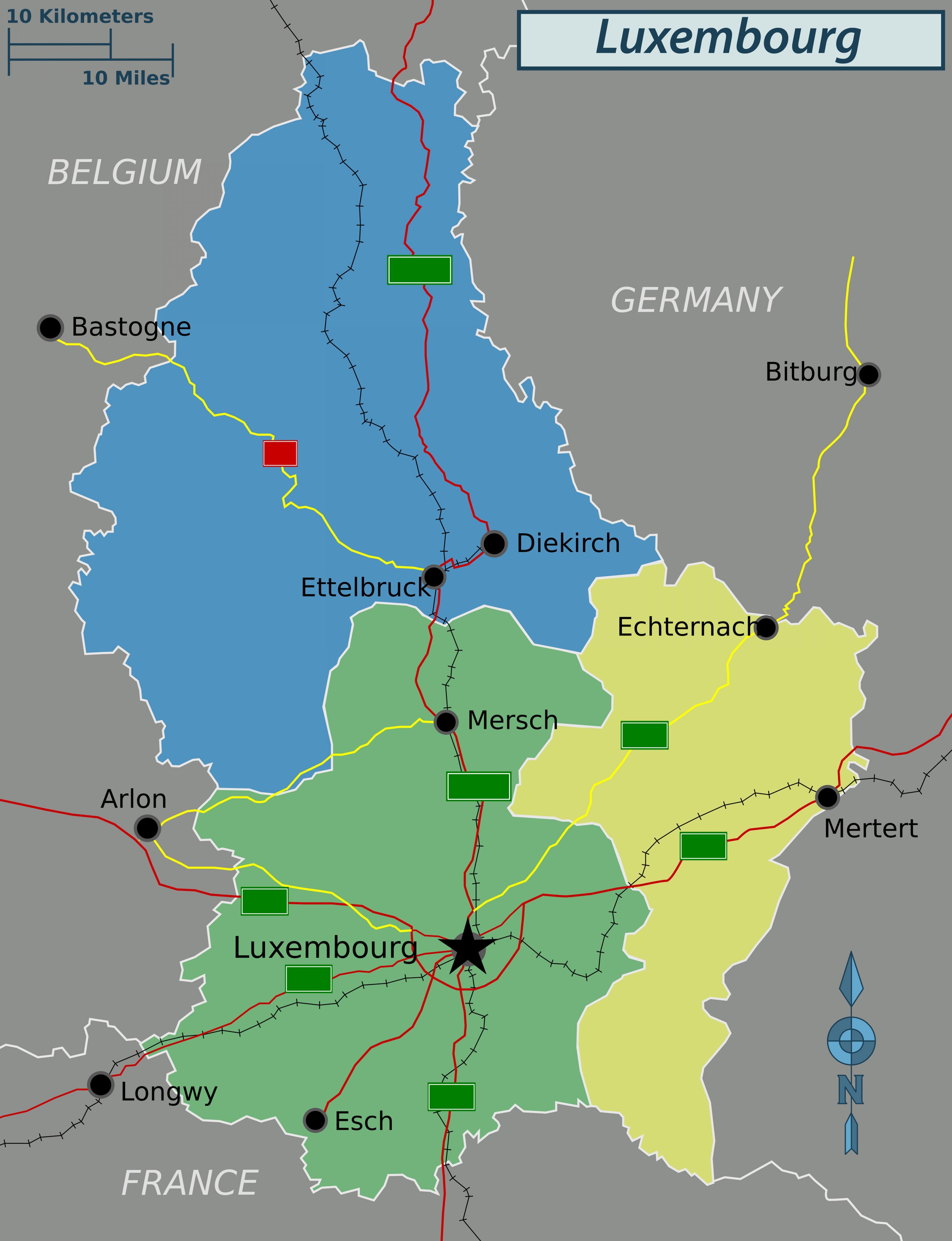 Luxembourg Politiske Kort Kort Over Luxembourg Politiske Det