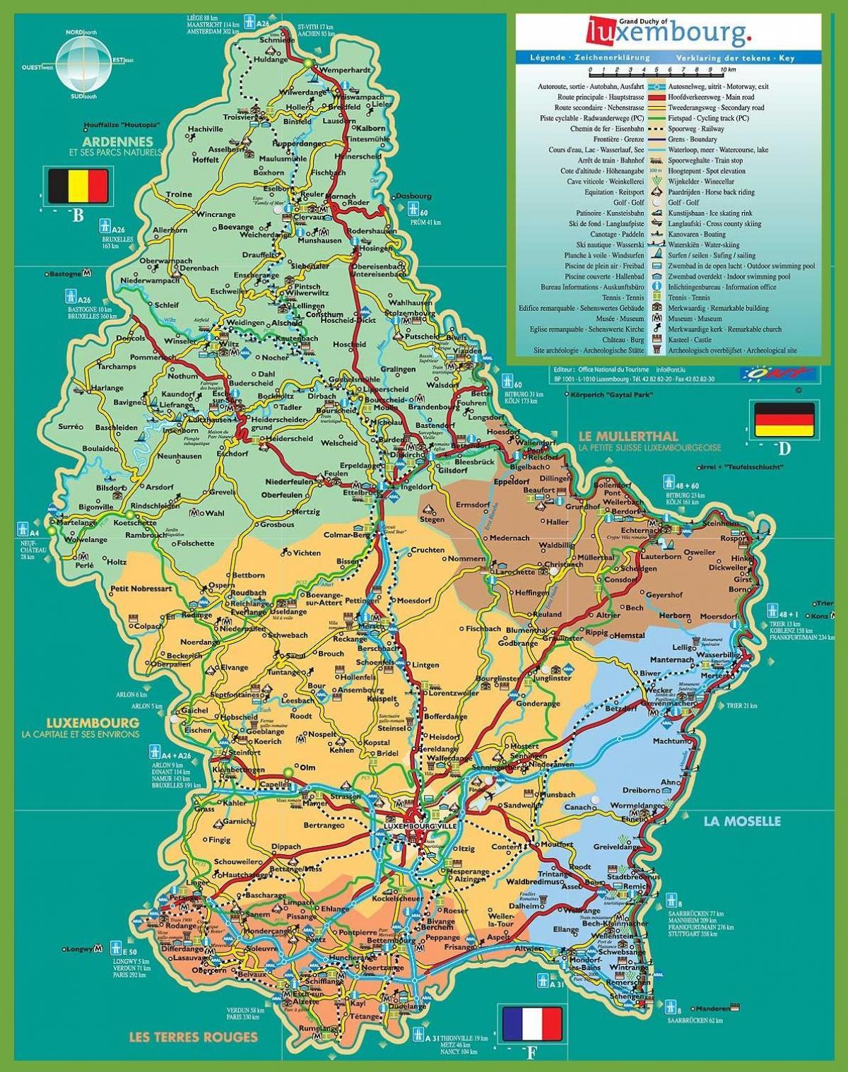 Luxembourg Turist Kort Luxembourg City Tourist Kort Det